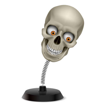 glister: Table souvenir with grinning human skull on spring