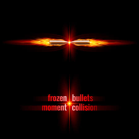 Frozen moment of two bullets collision in orange flame