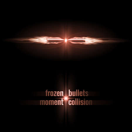 moment: Frozen moment of two bullets collision in flame Illustration