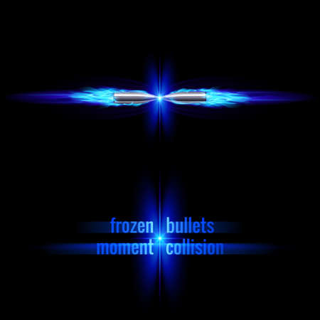 Frozen moment of two bullets collision in blue flame
