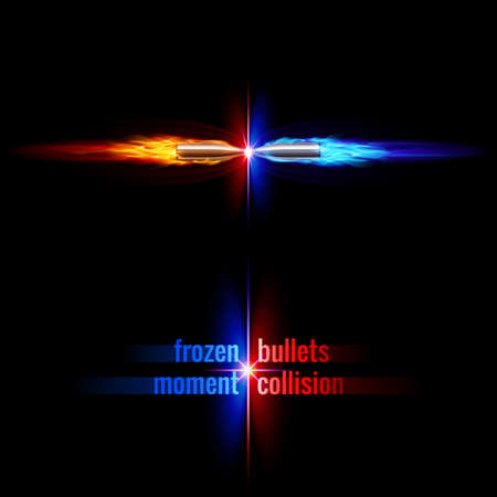 Frozen moment of two bullets collision in orange and blue flame