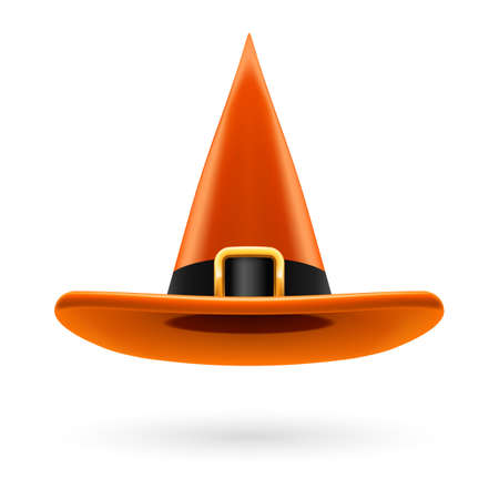 hatband: Orange witch hat with golden buckle and hatband Illustration