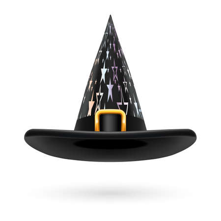 hatband: Black witch hat with golden buckle, hatband and silver stars ornament