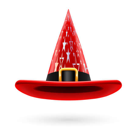 hatband: Red witch hat with golden buckle, hatband and silver stars ornament Illustration