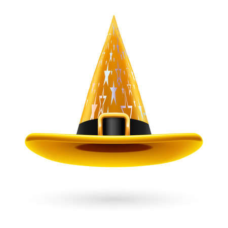 hatband: Yellow witch hat with golden buckle, hatband and silver stars ornament Illustration