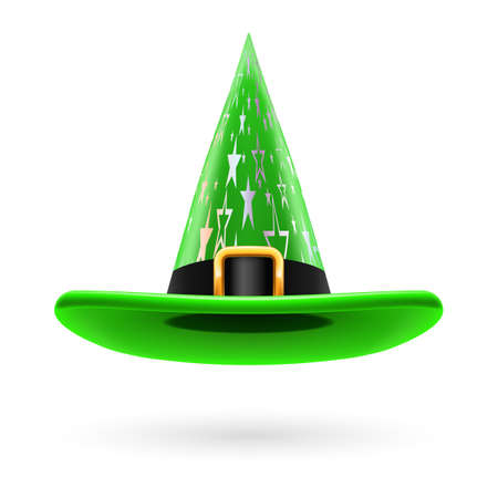 hatband: Green witch hat with golden buckle, hatband and silver stars ornament Illustration