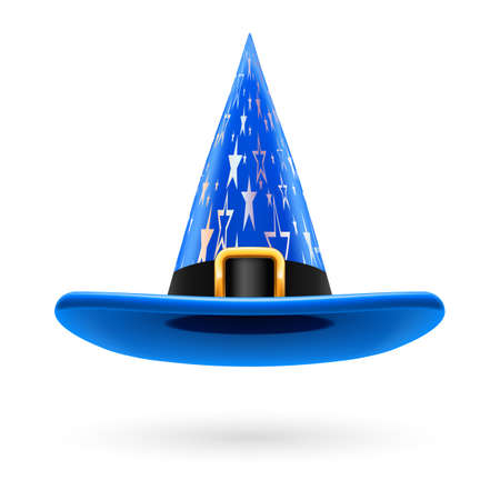 witch hat: Blue witch hat with golden buckle, hatband and silver stars ornament