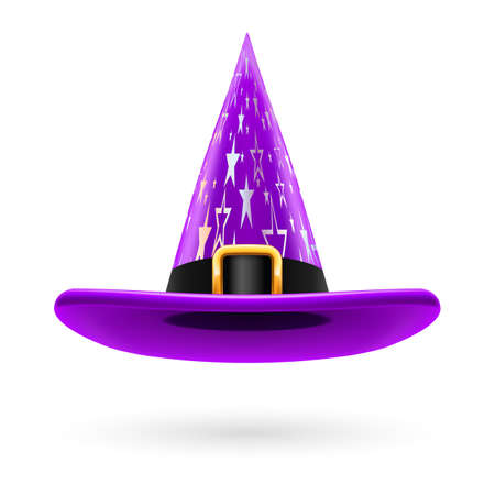 hatband: Violet witch hat with golden buckle, hatband and silver stars ornament