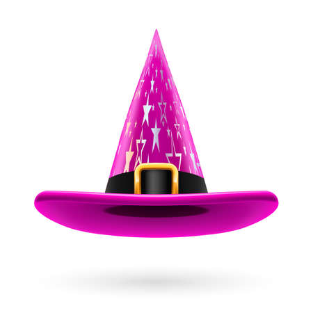 hatband: Magenta witch hat with golden buckle, hatband and silver stars ornament