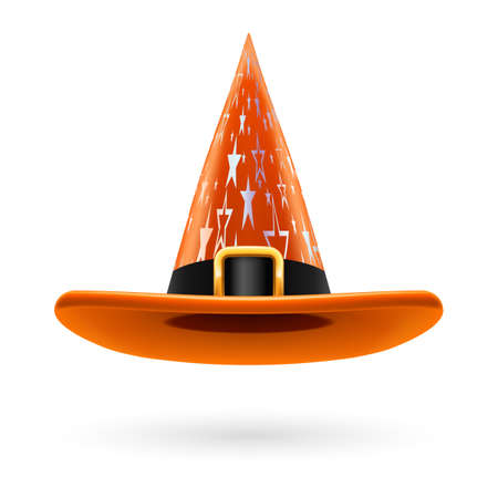 hatband: Orange witch hat with golden buckle, hatband and silver stars ornament