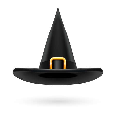 hatband: Black witch hat with golden buckle and hatband Illustration
