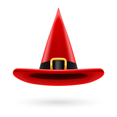 wizard: Red witch hat with golden buckle and hatband