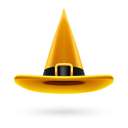 hatband: Yellow witch hat with golden buckle and hatband