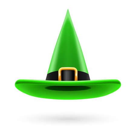hatband: Green witch hat with golden buckle and hatband