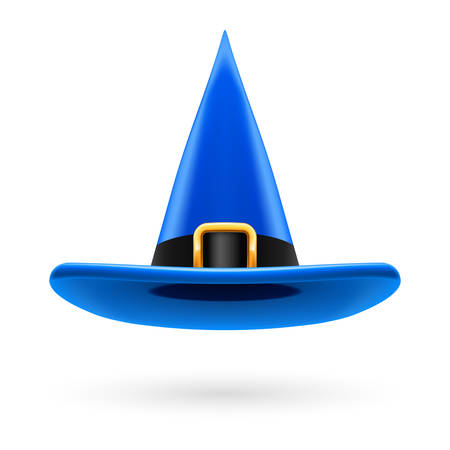hatband: Blue witch hat with golden buckle and hatband