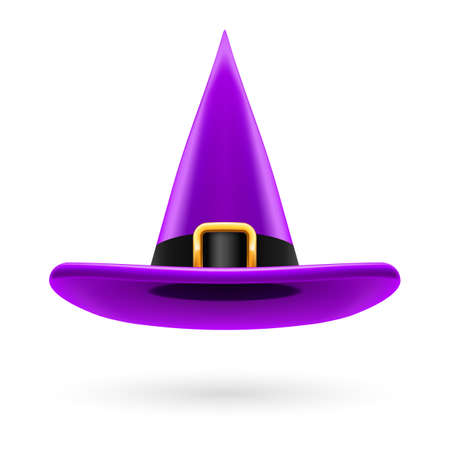 hatband: Violet witch hat with golden buckle and hatband