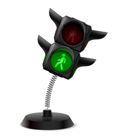 warns: Souvenir at the spring in form traffic light on the white background