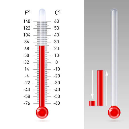 Illustration of thermometer with Fahrenheit and Celsius scale Illustration