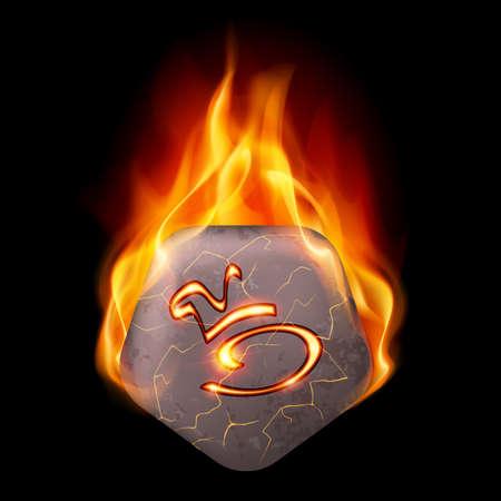 rune: Pentagonal stone with magic rune in orange flame