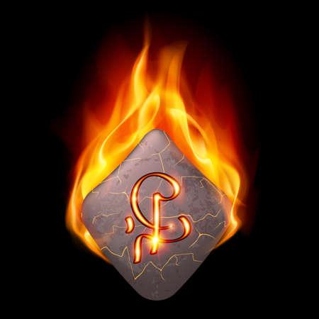 rune: Cracked stone with magic rune in orange flame Illustration