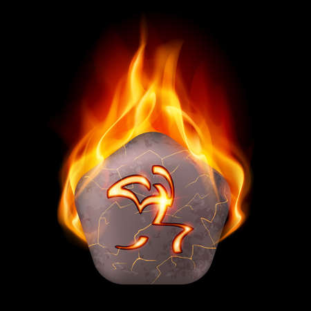 rune: Pentagonal cracked stone with magic rune in orange flame Illustration