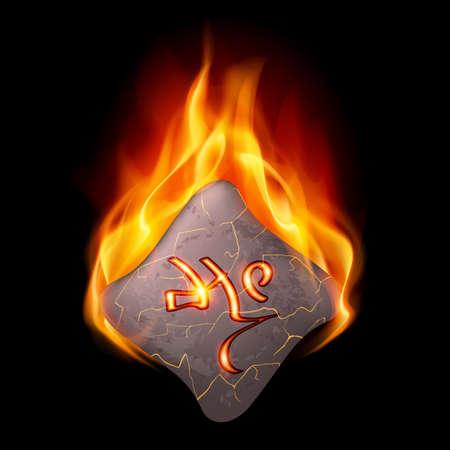 rune: Ancient stone with magic rune in orange flame