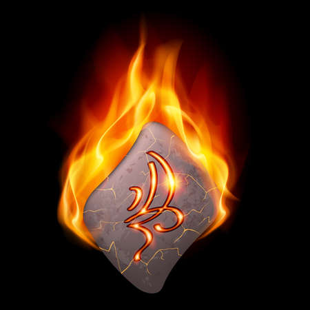 Cracked stone with magic rune burning in orange flame Vector