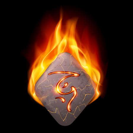 burning alphabet: Ancient diamond-shaped stone with magic rune in orange flame