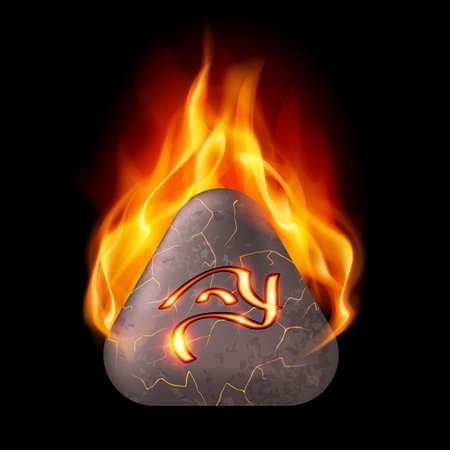 three cornered: Mysterious trigonal stone with magic rune in orange flame Illustration