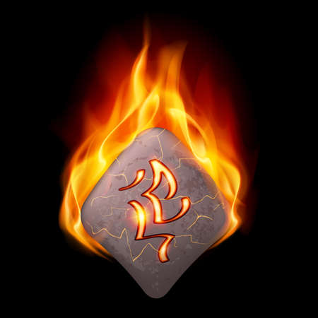 rune: Mysterious rhombus stone with magic rune in orange flame