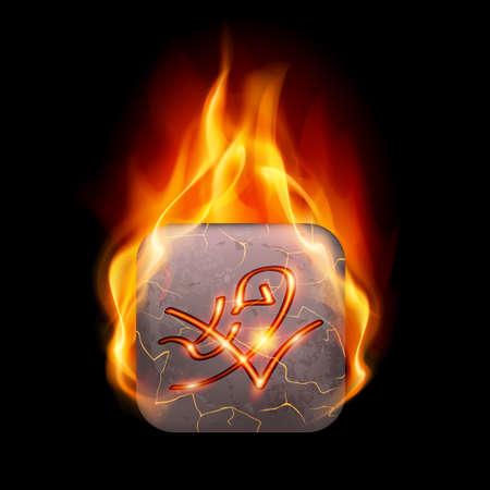 rune: Quadrangular stone with magic rune in orange flame Illustration