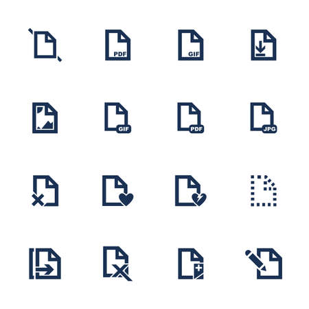 formats: Set of icons for different document formats in flat style