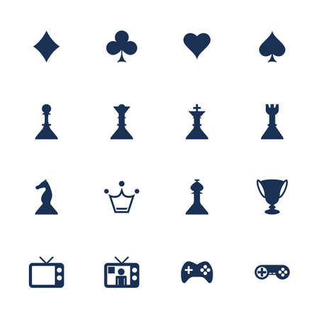 Set icons for different games in flat style Vector