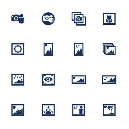 redeye: Set of media photo icons with different photo shots in flat style