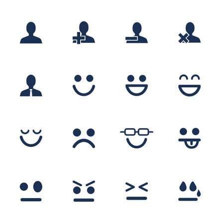 Set di icone piane per le emozioni e la comunicazione di rete soial Archivio Fotografico - 33199934