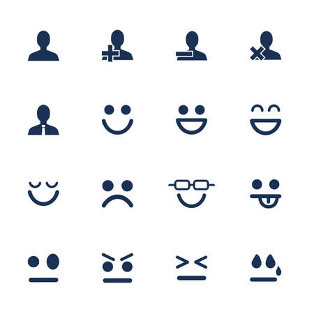 face  illustration: Set of flat icons for emotions and soial network communication