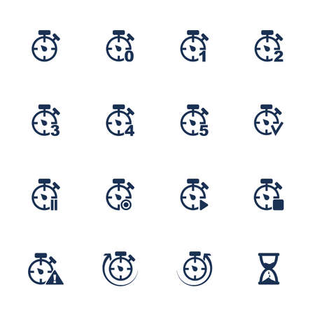 Set of icons with clocks in flat style Vector