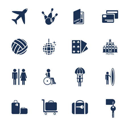 Set of icons for transportation, traveling and leisure in flat style Vector