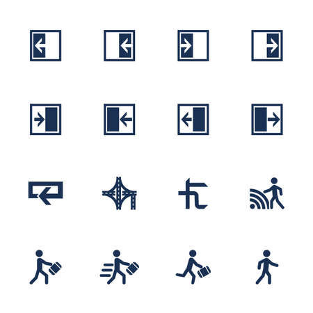 Set of icons for movement direction in flat style Vector