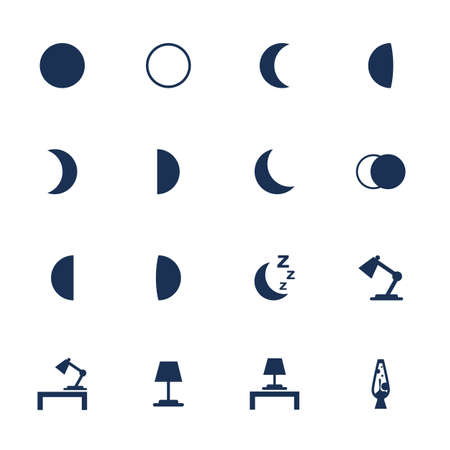 phases: Set of flat icons with moon phases and illumination items