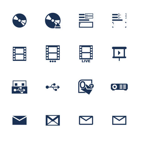 Set of icons for multimedia interface in flat style Vector