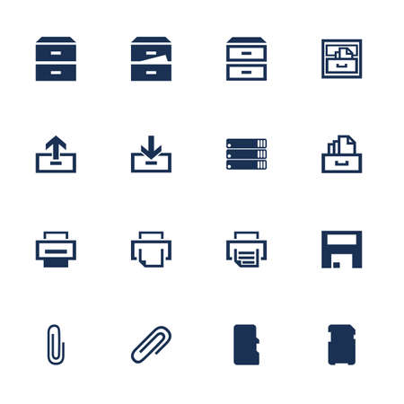 printer icon: Set of icons for software interface in flat style