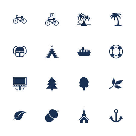 park icon: Set of flat icons for leisure, tourism and travelling