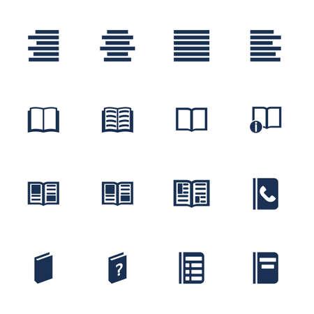 literatura: Conjunto de iconos para el libro, lista e informaci�n en estilo plano Vectores