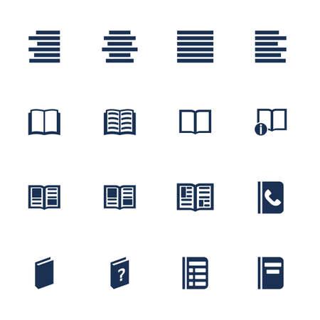 literature: Set of icons for book, list and information in flat style Illustration