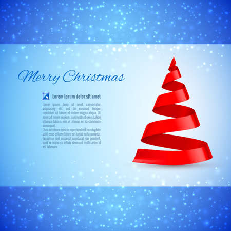 celebration eve: Christmas greeting card with red ribbon Christmas tree over sparkling background Illustration