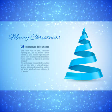 Christmas greeting card with blue ribbon Christmas tree over sparkling background Vector