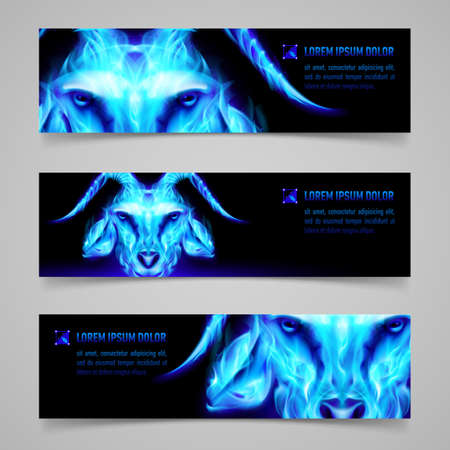 blue flame: Set of banners with goat head in blue flame. Symbol of the year 2015 Illustration