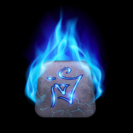 blue flame: Cracked quadrangular stone with magic rune in blue flame