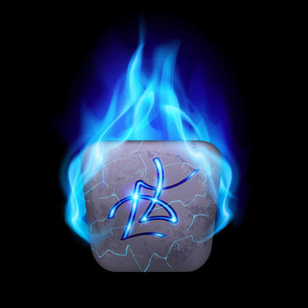blue flame: Ancient quadrangular stone with magic rune in blue flame Illustration
